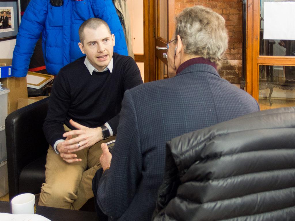 Enda YOUNG interviewed for Swiss National Radio. Belfast, Northern Ireland.