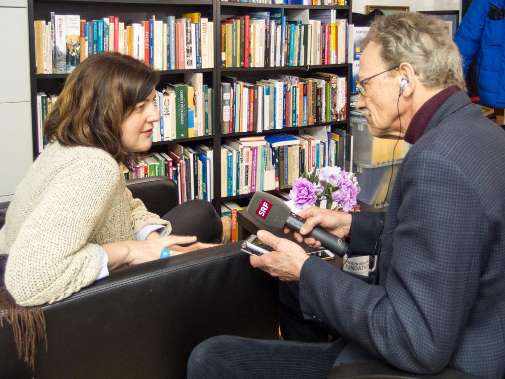 Jenny HOLLAND interviewed by Swiss National Radio. Belfast, Northern Ireland.